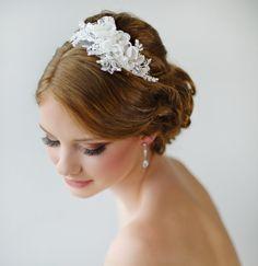 Bridal Headband, Floral Headband, Ivory Lace Headband, Wedding Headpiece, Fascinator, Wedding Hair Accessory - LAYLA. $89.00, via Etsy.