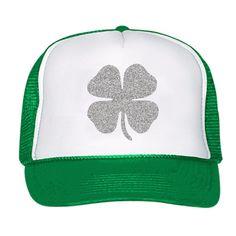 St Patricks Day Clover Hat Glitter Shamrock Snapback Cap