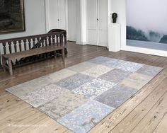 Cameo Gustavian Blue Rug (Louis de Poortere), a patchwork style cotton chenille & wool rug in shades of blue, ivory & beige (85% cotton chenille & 15% wool, machine-woven, available in 8 sizes) http://www.therugswarehouse.co.uk/blue-rugs/cameo-gustavian-blue-rug.html #rugs #modernrugs