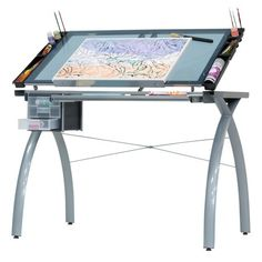 Studio Designs Alpha Craft Station - Glass Top Drafting and Craft Table, Silver Steel Building Homes, Printer Stand, Art Studio Organization, Craft Station, Horror Decor, Table Sizes, Safety Glass, Modern Furniture, Drafting Drawing