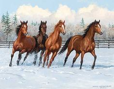 Frisky Four-Horses Painting by Persis Clayton Weirs Horses In Snow, Four Horses, Pretty Horses, Beautiful Horses, Share Pictures, Horse Artwork, Horse Paintings, Animated Gifs, Horse Portrait