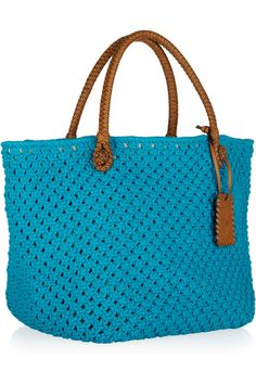 Ralph Lauren Collection Crocheted rope and leather tote