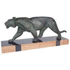 'Leopard' Fine Art Deco Polished Spelter Figure | 1stdibs.com