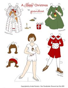 Christmas Paper dolls/Holiday paper dolls -- Includes a pony and a one horse open sleigh! Christmas DIY ideas