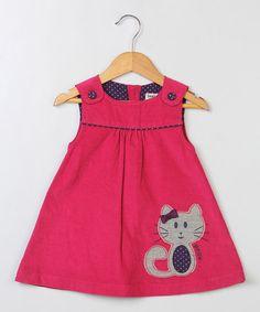 Another great find on #zulily! Dark Pink Cat Corduroy Jumper - Infant & Toddler #zulilyfinds