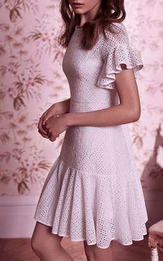 Needle & Thread Resort 2017 White Floral Ruffled Mini Dress $280