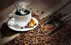 Wallpapers on desktop. Wallpaper table, couples, Cup, drink, coffee, hot, saucer, black background, grain to download.