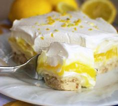 "Lemon Lush Dessert (Cupcake Diaries) [""A cookie crust is layered with a creamy lemon pudding, sweet cream cheese, and a fluffy whipped topping. This dessert is perfect for spring and summer! Lemon Lush Dessert, Lemon Desserts, Lemon Recipes, Sweet Recipes, Easy Recipes, Simply Recipes, Cheese Recipes, Lemon Desert Recipes, Summer Desert Recipes"