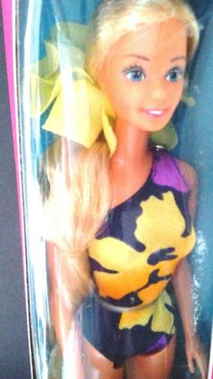 BARBIE/1985/TROPICAL BARBIE/MIB/LONGEST HAIR EVER/RUFFLE&BRUSH/BATHING SUIT/ #Dolls