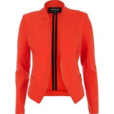 Coral collarless structured blazer $90.00 can't wait til march 5 for Rihanna's clothing line to comeout