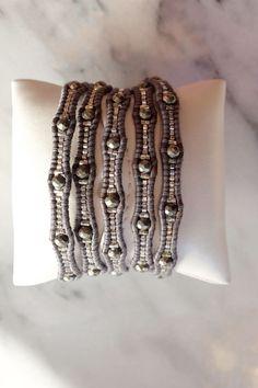 I love the Grey!  Chan Luu Silver Night Graduated Beaded Wrap Bracelet on Gunmetal Leather