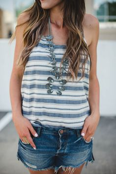 Summer tank and squash blossom necklace