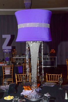 Bling and purple Bat Mitzvah centerpieces by Lighter Than Air.