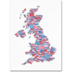 Trademark Art 'UK Cities Text Map 7' Canvas Art by Michael Tompsett, Size: 22 x 32, Multicolor