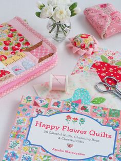 Beautiful sewing kit @ Pretty by Hand - pattern is in Happy Flower Quilts book by Atsuko Matsuyama