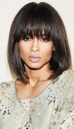 Ciara's blunt bob with bangs is so chic