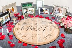 Love this guest book! Wooden cut out with the Couples Initial the guest can sign!