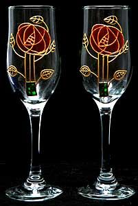 Celtic Glass Designs Set of 2 Hand Painted Champagne Flutes in a Mackintosh Pink Rose Design >>> You can find out more details at the link of the image. Champagne Glasses, Rose Design, Glass Design, Table Linens, Celtic, Wine Glass, Clip Art, Hand Painted, Pink