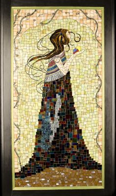 "Mosaic Art ""Bird in Hand"" stained glass mosaic panel by Cassie Edmonds Mosaics"