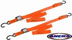 "Ancra ""Originals""Tiedowns - 1"" Cam Buckle Tie Down Orange by Ancra. Save 23 Off!. $22.95. Ancra manufacturers two qualities - these are the better quality orange ""Original"" tiedowns and they're made in the USA. SIMPLY they are the best in the industry. Good tiedowns are cheap insurance for protecting your motorcycle while transporting. A name brand product which has been tested and proven is your best buy. SOLD IN PAIRS, these tiedowns have a vinyl coated ""S"" hook on both the fix..."
