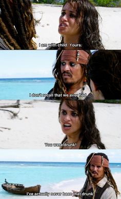 I can't believe that, Captain Jack Sparrow -- Johnny Depp and Penelope Cruz in Pirates of the Carribean: On Stranger Tides