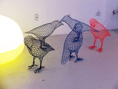 Wire mesh birds by Benedetta Mori-Ubaldini at Rossana Orlandi. #salonedelmobile #milan2012