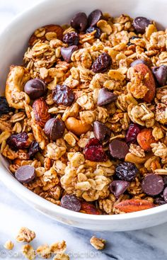 """Sweet, simple, healthy, wholesome, feel-good """"hit the trail"""" granola. This crunchy trail mix granola is simple to make and has so much flavor and texture!"""