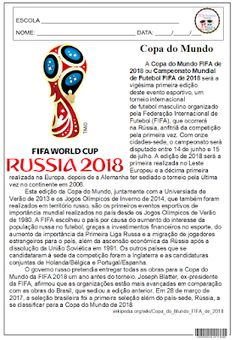 Copa do Mundo 4º E 5º ANO, COPA DO MUNDO, DATA, INTERPRETAÇÃO, LÍNGUA PORTUGUESA, TEXTO INFORMATIVO