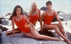 Like a rock: Alexandra posing 20 years ago with Baywatch co-stars Jasmine Bleeth and Pamel...