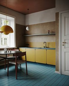 Can't get enough of these colors, super nice colorful, crazy but brilliant modern interior. Midcentury modern, mixed with contemporary and… Interior Exterior, Best Interior, Interior Design Kitchen, Interior Architecture, Kitchen Decor, Yellow Interior, Brown Interior, Kitchen Modern, Vintage Kitchen