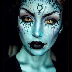 Hexen Halloween Make Up Looks & Ideen 2018 - Makeup İdeas For Beginners Makeup Clown, Scary Makeup, Sfx Makeup, Demon Makeup, Costume Makeup, Skull Makeup, Makeup Brushes, Beauty Makeup, Extreme Makeup