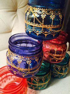 Mason Jar Lantern. Gold Henna Detail. Handpainted. Candle holder. Desktop Organizer