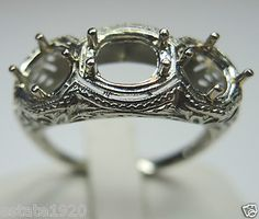 ANTIQUE ART DECO FILIGREE ENGAGEMENT RING SETTING CIRCA ~ 1930'S SETTING WILL HOLD - 1 (Oval 5.4 X 6.8) or (Round 6.5 mm) 2 ~ ROUND 6 MM (.75CT) METAL ~ 18KW SOLID GOLD WEIGHT ~ 4.0  GRAMS  FINGER SIZE ~ 8.25 (SIZABLE) U.S.A. & CANADA (Q) UNITED KINGDOM, IRELAND, AUSTRALIA & NEW ZEALAND
