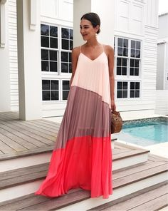 Colorblocked maxi from last year's summer #CBLxML collection for happy hour with the (adult) kids. I feel fully adjusted to beach life and it sounds ridiculous to even consider going home... right?! 🌊🌴🚲🍷 Shop similar colorblock styles with @liketoknow.it (like or screenshot to shop in the LTK app): http://liketk.it/2rl6d // #ootd #maxidress #30A #liketkit
