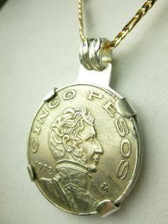 1972 Cinco Pesos Mexican Coin Pendant Mint Mark Mexico City | dianesdangles - Jewelry on ArtFire #bmecountdown