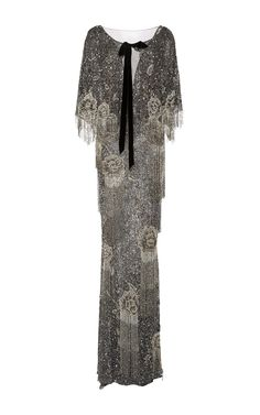 Marchesa Beaded Column Gown With Cape