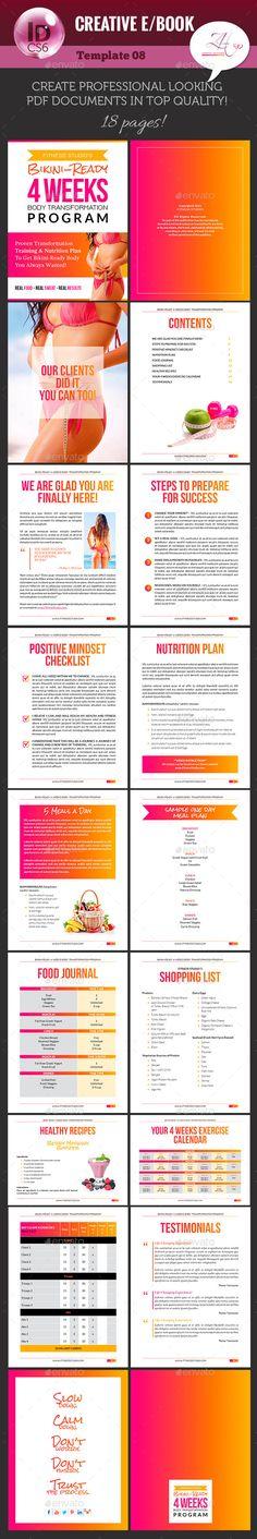 18 page #ebook #template for body fitness programs. Creative (e)Book V-08 - Digital Books ePublishing