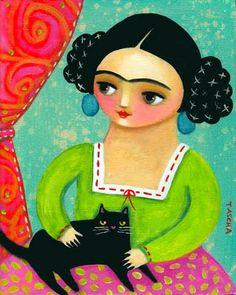 Frida And Diego, Frida Art, Diego Rivera, Chicano Art, Whimsical Art, Cat Art, Folk Art, Decoupage, Poster