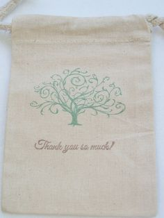 10 Tree of Life Wedding Favor Gift Bag, 4X6 Muslin Bag, Bridal Shower, Party Favor,Thank You Stamped Bag