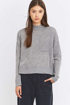 Light Before Dark Fine Knitted Mock Neck Jumper - Urban Outfitters