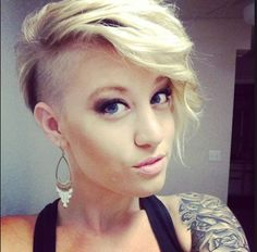 Shaved side hairstyle, blonde..really thinking of doin this when my top grows out!! ;)