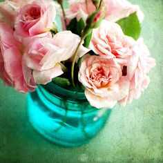 blue glass jar, romantic pink roses