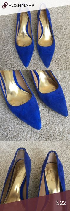 Blue Coach Pumps Gorgeous pair of blue suede pumps by Coach. These have been worn with love and care and still has a long, fruitful life ahead. Very comfortable! Coach Shoes Heels