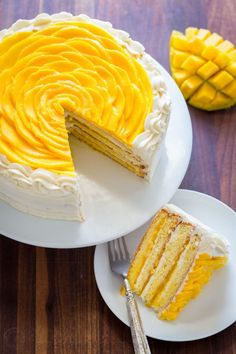This mango cake is bursting with fresh mango flavor! An impressive, show-stopping mango cake recipe with only 9 ingredients. It is surprisingly simple. Baking Recipes, Cake Recipes, Birthday Cake Flavors, Fruit Birthday, Cake Birthday, Mango Recipes, Mango Dessert Recipes, Cake Fillings, Let Them Eat Cake