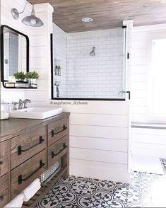 rustic modern farmhouse vanity, farmhouse bathroom, cement tiles, shiplap, subway tile, barn lights