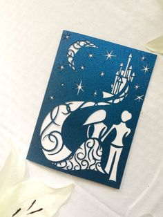 Fairytale starry night laser cut wedding invitation blue night with moon bride and groom DIY fairy tale castle