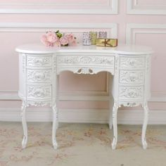 Shabby-Cottage-Chic-White-French-Vintage-Style-Desk-Kidney-Vanity-7-Drawers