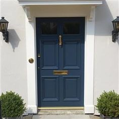 Front Door Color by Farrow & Ball Stiffkey Blue - Masonry paint color is Ammonite - 274 Front Door Farrow And Ball, House Front Door, House Doors, Victorian Front Doors, Grey Front Doors, Painted Front Doors, Front Entry, House Paint Exterior, Exterior Doors