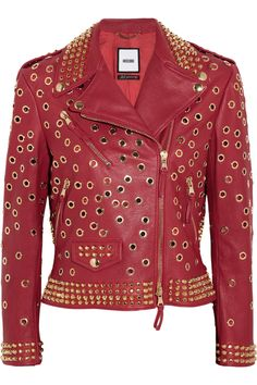 Moschino | Embellished leather biker jacket | NET-A-PORTER.COM