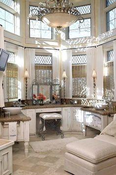 Gorgeous master bath! Love all the windows